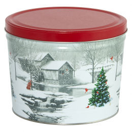 Snow Covered Mill 2 Gallon Popcorn Tin
