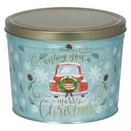 Vintage Christmas 2 Gallon Popcorn Tin
