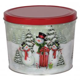 Snow Family 2 Gallon Popcorn Tin
