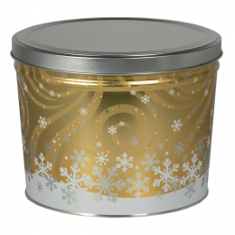 Swirling Snow 2 Gallon Popcorn Tin
